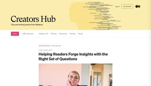 Home page: Medium Creators Hub