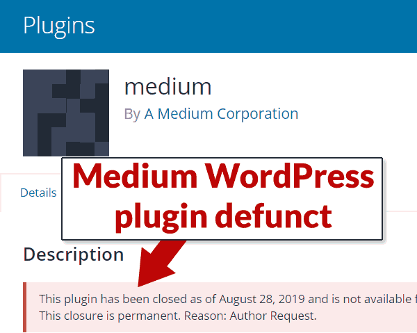 Screenshot of Medium.com WordPress plugin page