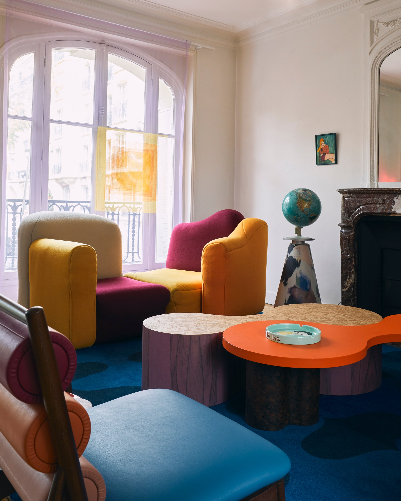 pThe sofa by Gaetano Pesce is circa 1990 the globe stand by Dirk Vander Kooij. The carpet curtains and coffee tables are...