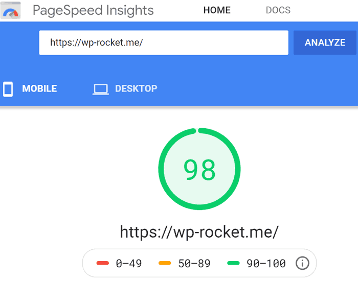 Screenshot of Page Speed Performance score of 98 out of 100