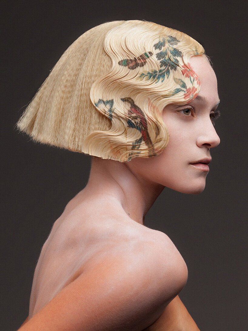 alexis ferrer prints colorful floral motifs on sharp hairdos for 'la favorite' collection