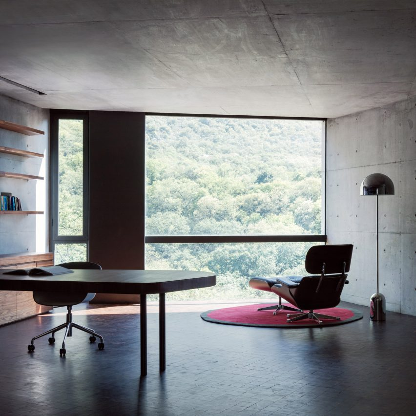 Home office with concrete walls