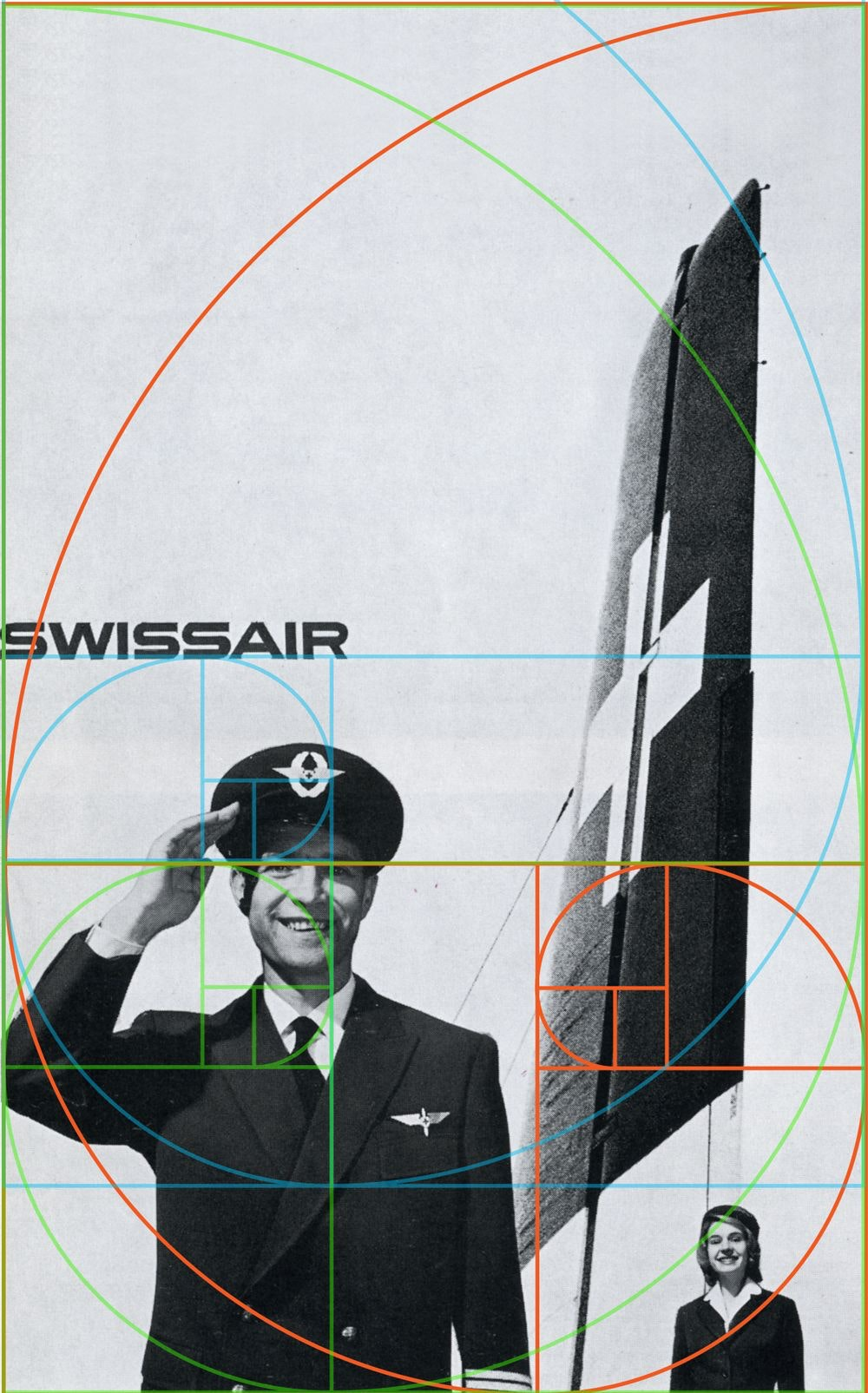 Golden spirals and rectangles are overlaid on a print ad featuring a saluting airline pilot, stewardess and plane fin.