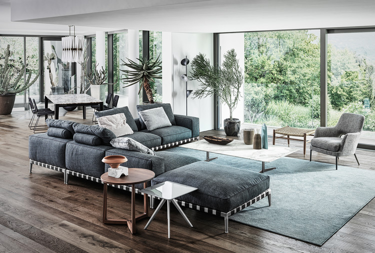 The Gregory Sofa occupies the centre of the space. Image Courtesy of Flexform