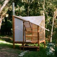 Studio Rain erects translucent flat-pack sauna on banks of Yarra River