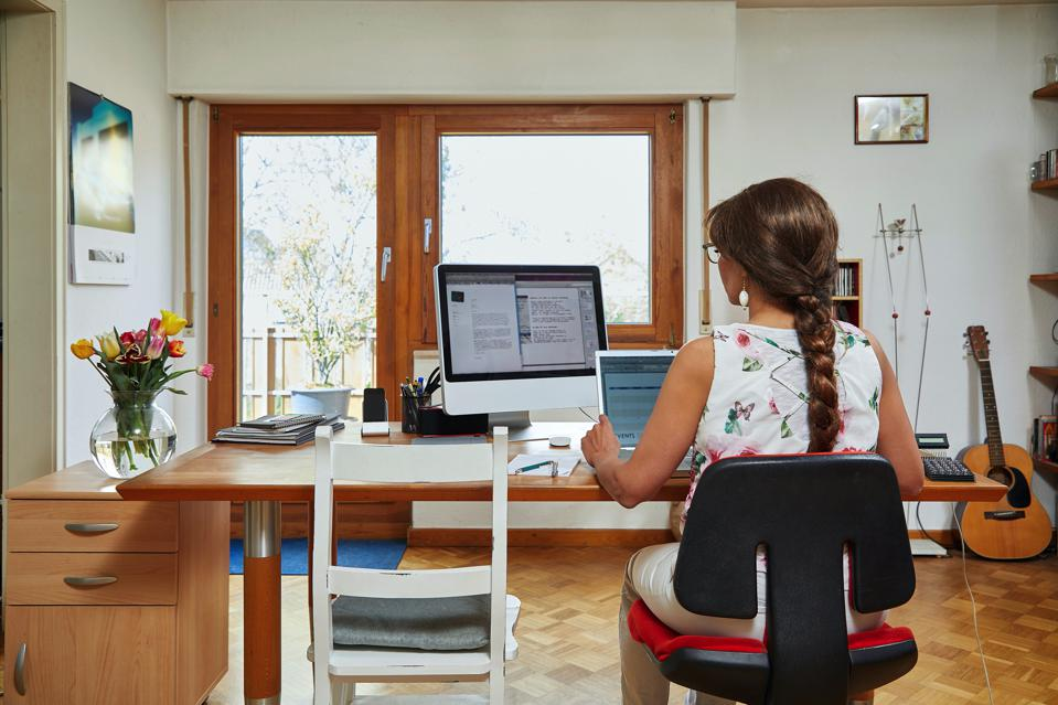 Woman working in home office, rear view on the desk