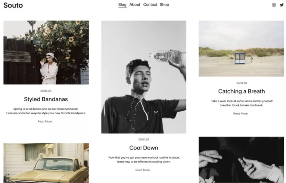 A Squarespace shopping and blogging template.