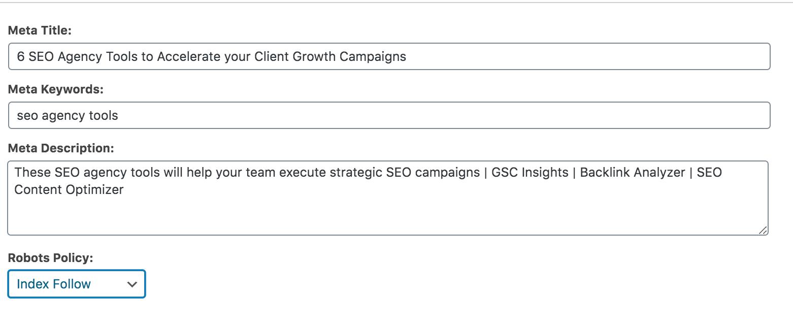 Meta tag tool in WordPress.