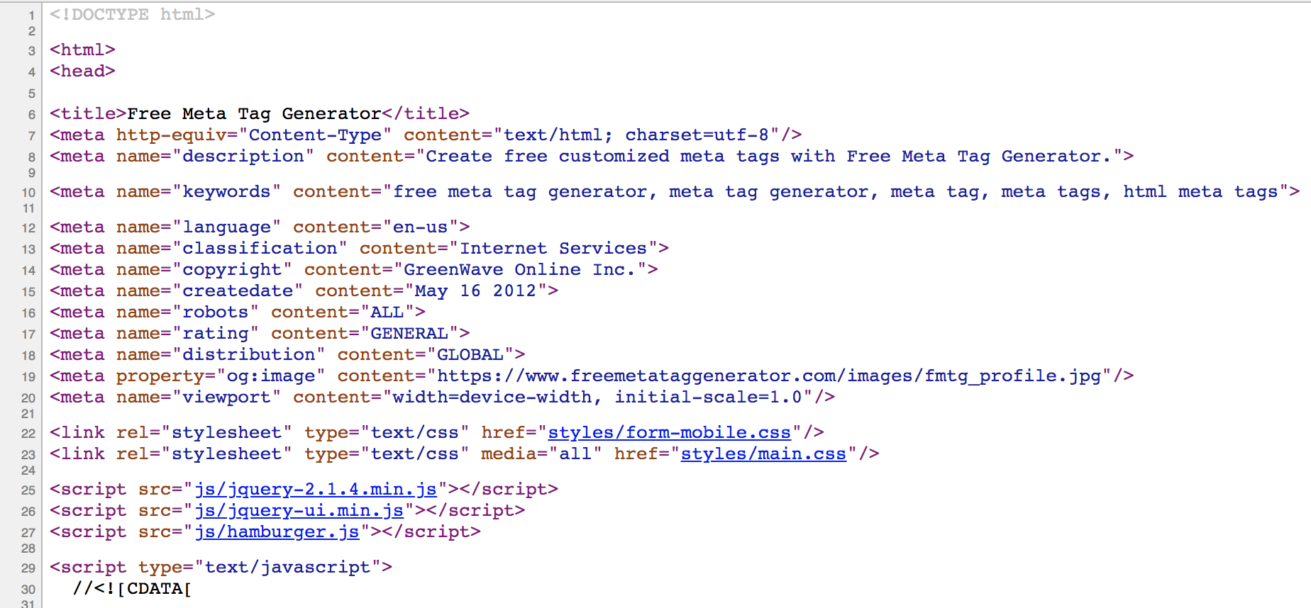 Head section of HTML pages with meta tags.