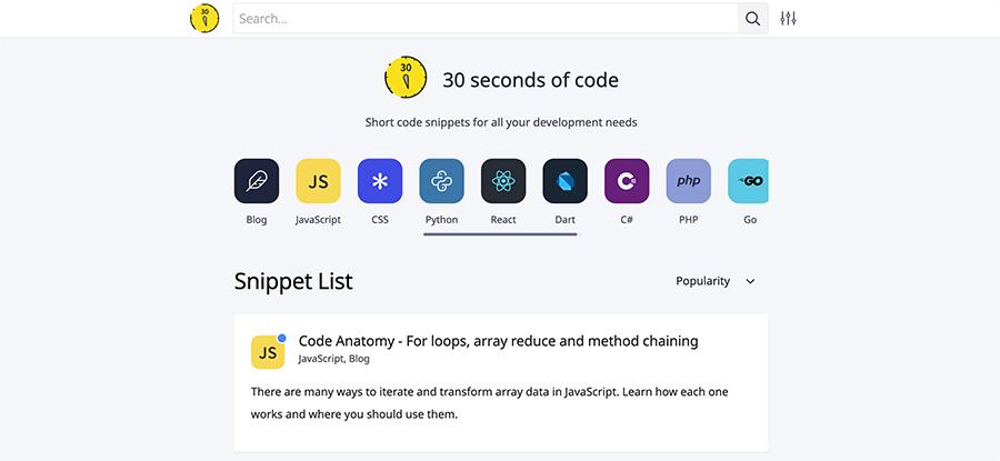30 seconds of code screenshot