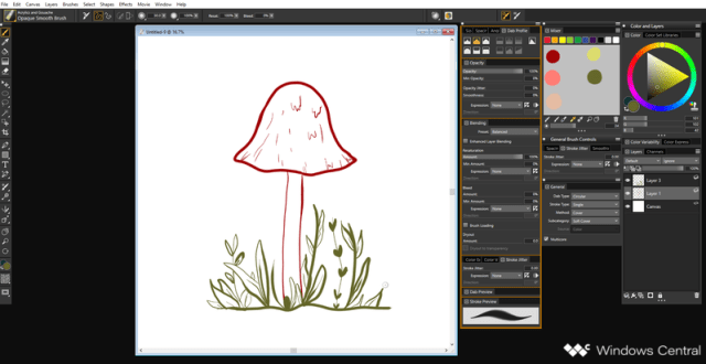 Mushroom Lineart in Corel Painter 2019