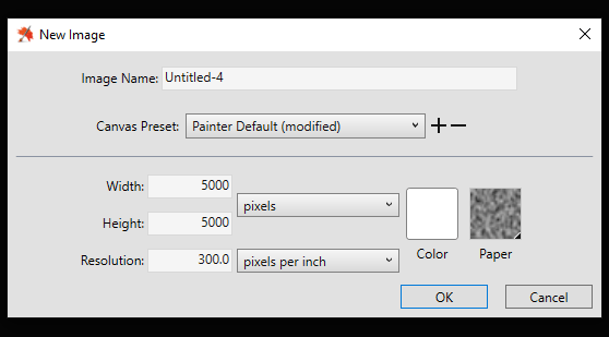 New Image Dialog Box Painter 2019