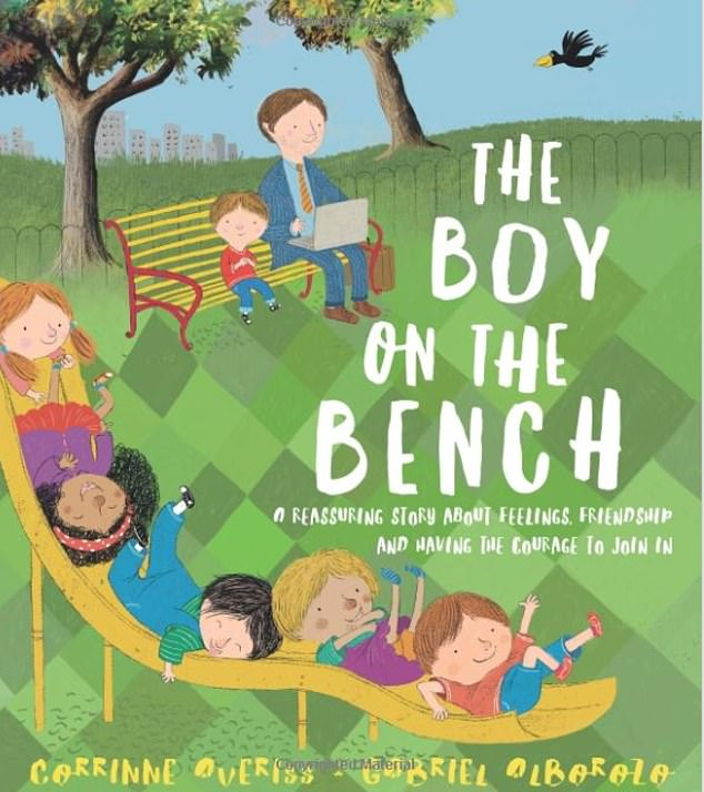 Corrinne Averiss' book features similar illustrations of a father and son sitting on a bench together, and is described online as a 'gentle, empathetic story about overcoming fears and being yourself'