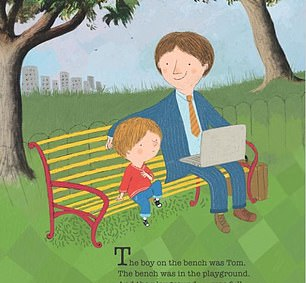 Meanwhile another illustration in Corrinne's book, which came out in 2018 months before Meghan and Harry welcomed their son Archie, sees a father and son cuddling up on a bench (pictured). The Duchess' book contains a similar image