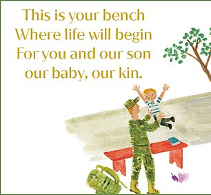 Meanwhile another illustration in Corrinne's book, which came out in 2018 months before Meghan and Harry welcomed their son Archie, sees a father and son cuddling up on a bench. The Duchess' book contains a similar image (pictured)