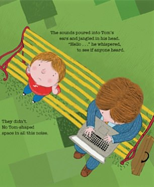 One illustration from Corrinne's book captures a birds-eye view of a father and son sitting together on a park bench, while Meghan's new book features a similar image