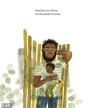 One illustration from Corrinne's book captures a birds-eye view of a father and son sitting together on a park bench), while Meghan's new book features a similar image (pictured)
