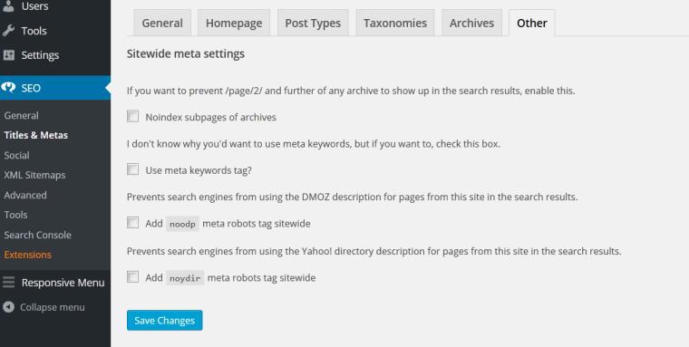 WordPress SEO settings.