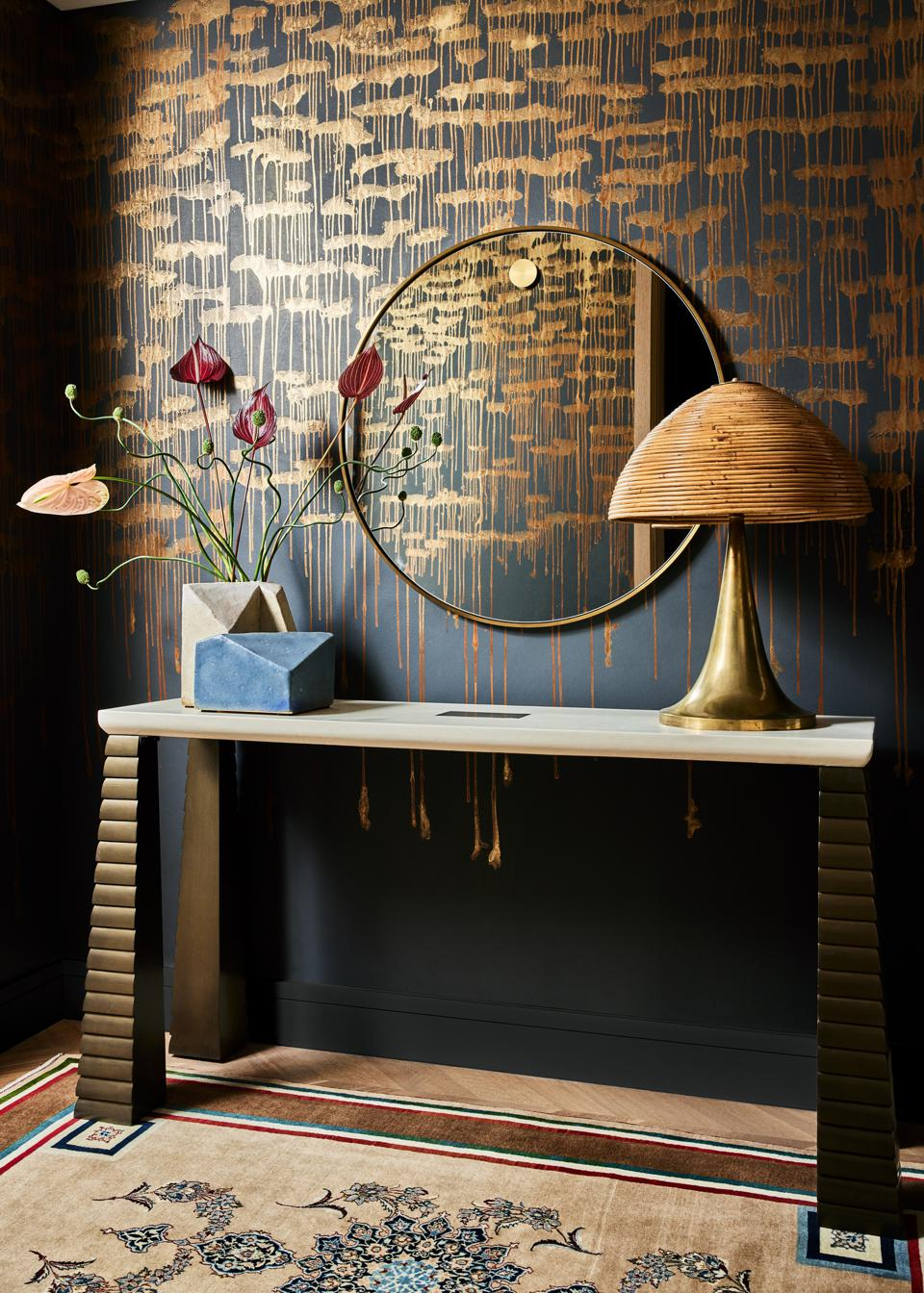 The foyer, featuring Ame Wallpaper by Callidus Guild.