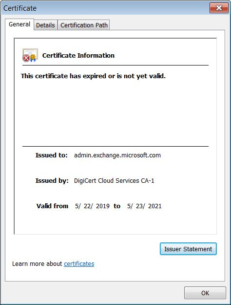 Expired SSL certificate for admin.exchange.microosft.com