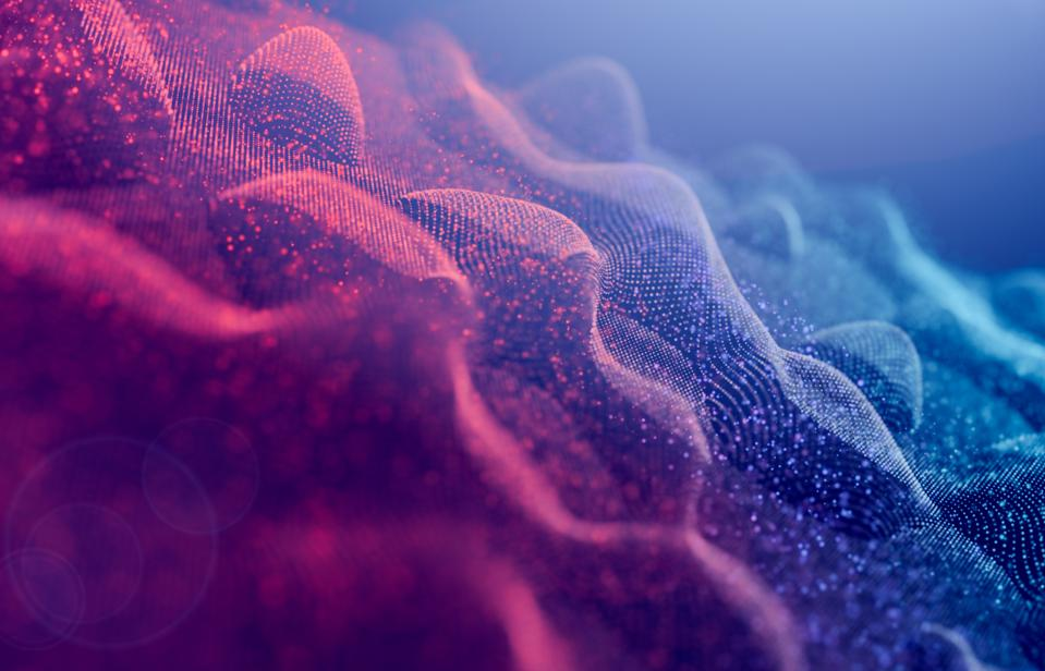 Abstract background,particles wave curve Digitally generated Image futuristic design for Business science and Technology