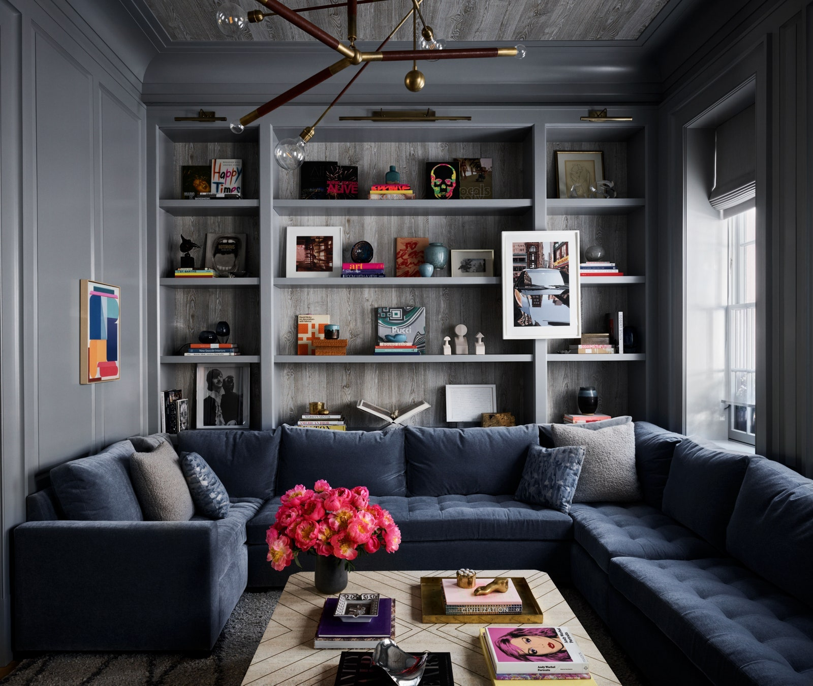 A living room enveloped in cool gray