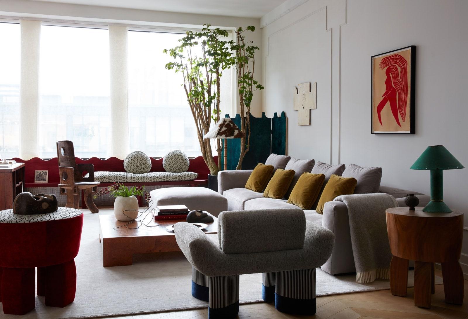 A living room in a Brooklyn loft