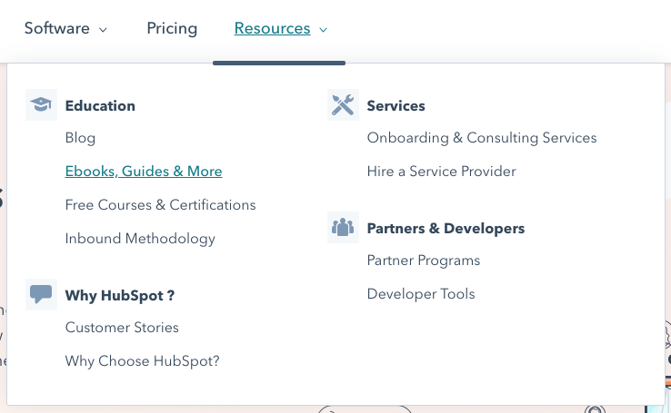 Top level navigation example from HubSpot's home page