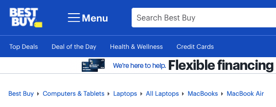 Breadcrumbs on the Best Buy website showing its site structure