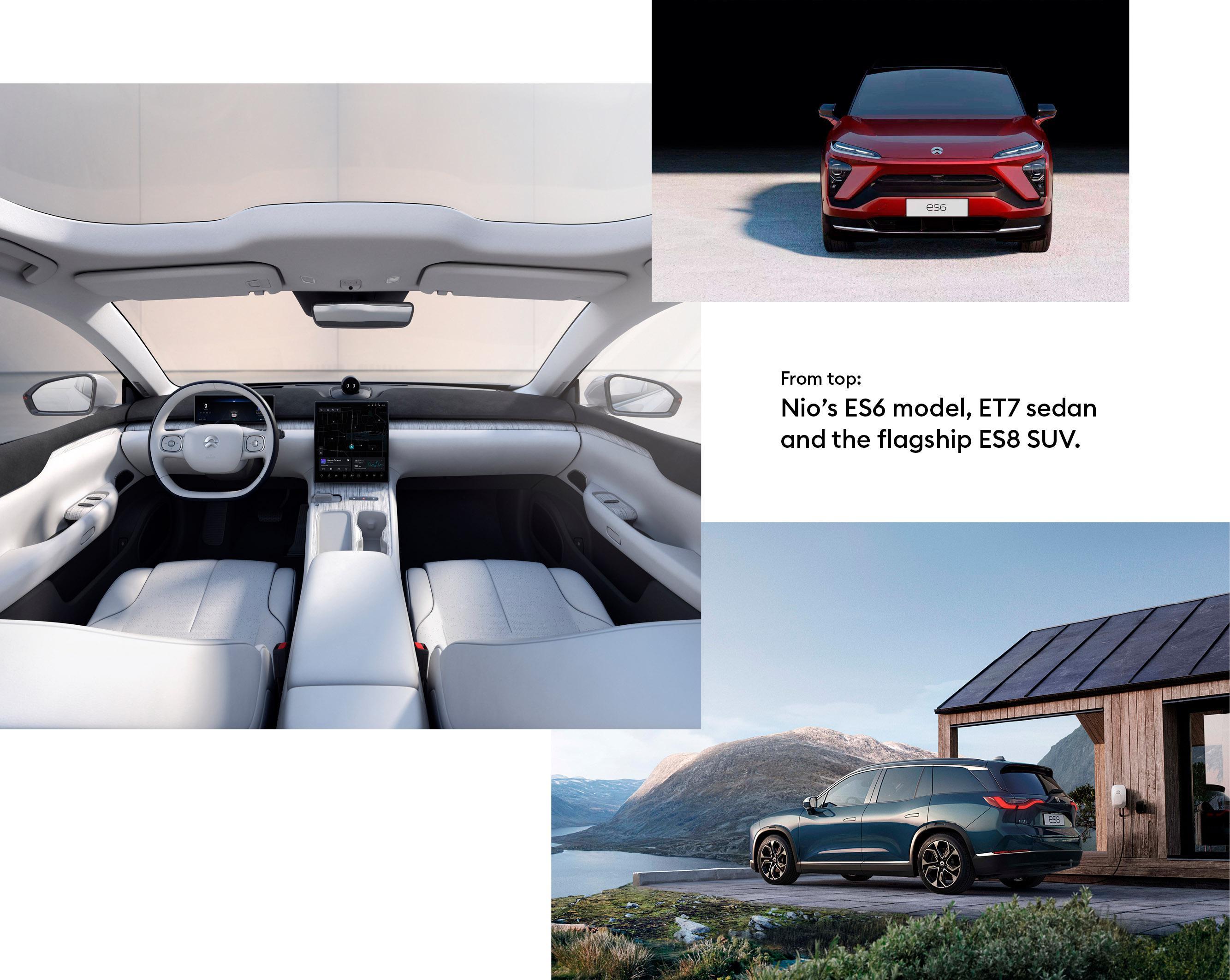 Nio's ES6 model, ET7 sedan and the flagship ES8 SUV.