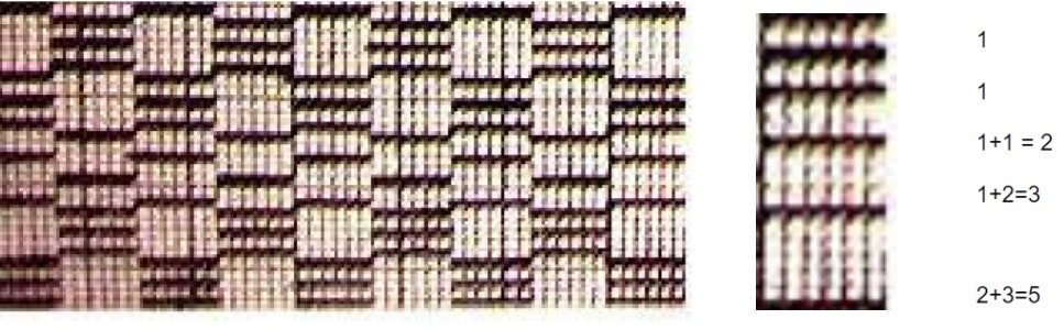 African cloth woven in a pattern of black and white lines.