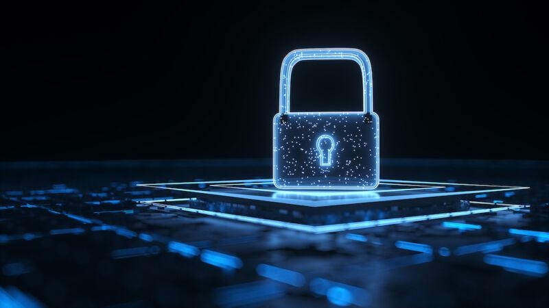 A highly stylized image of a padlock.