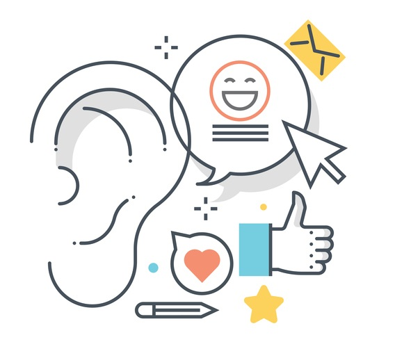 Social engagement graphic with an ear, speech bubble with a smiley face and a cursor pointing to it, a thumbs up icon, and a smaller speech bubble with a heart in it.