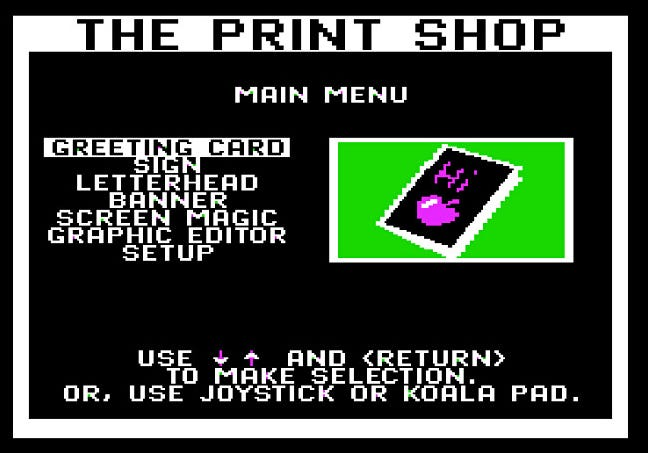 The Print Shop main menu for Apple II.