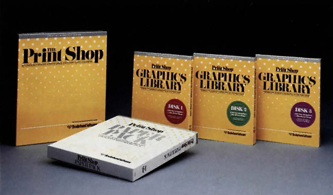 The Print Shop product line in 1986.